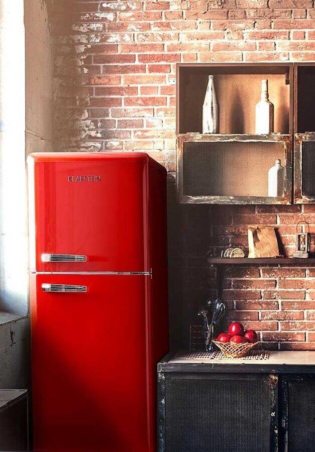 dicas de decoração para cozinha com geladeira vermelha Foto Wood Save