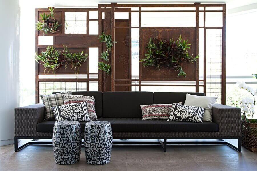 jardim vertical feito com chapa de aço corten Foto NS Sercon