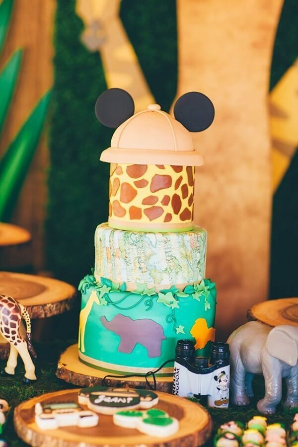 lindo bolo personalizado com animal print para festa do mickey safari Foto Little Wish Parties