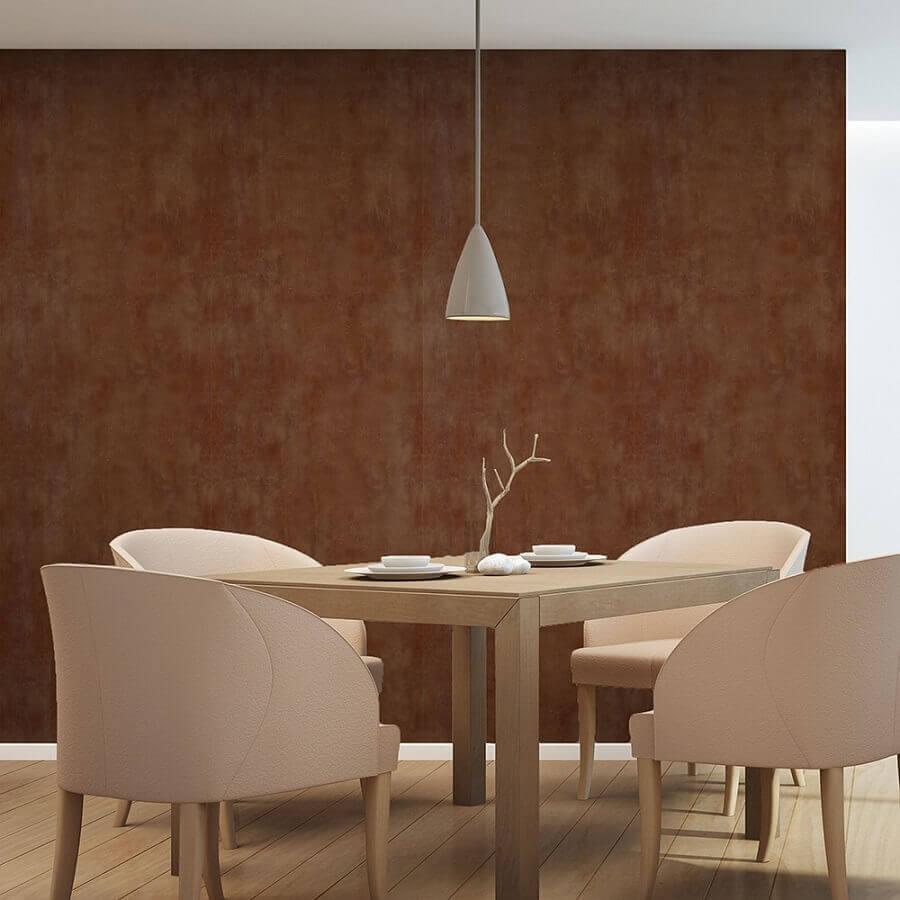 sala de jantar decorada com mesa quadrada e tinta aço corten Foto Tintas MC