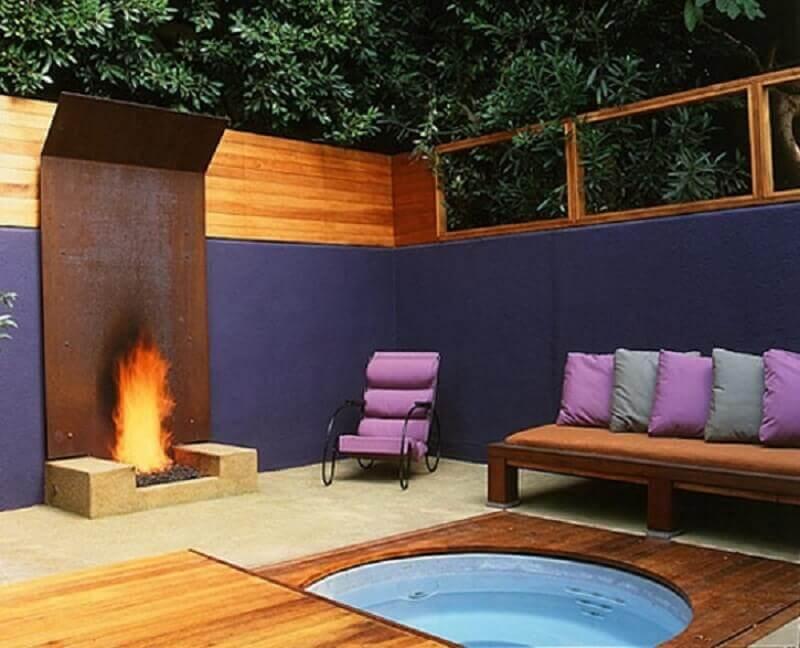varanda gourmet com aço corten para lareira  Foto Casa Decorada