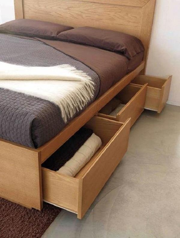 A cama com gavetas traz ainda mais funcionalidade ao quarto de casal. Fonte: Pinterest