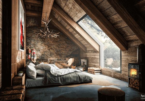 A decoração rústica ficou deslumbrante nesse ambiente de sótão