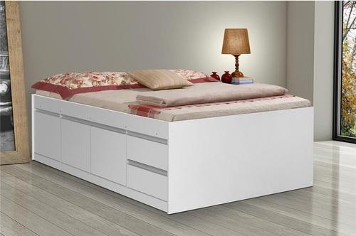 Cama com gavetas - cama de casal branca com gavetas e portas
