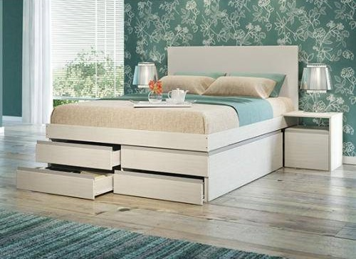 Cama com gavetas - cama de casal com gavetas na parte frontal