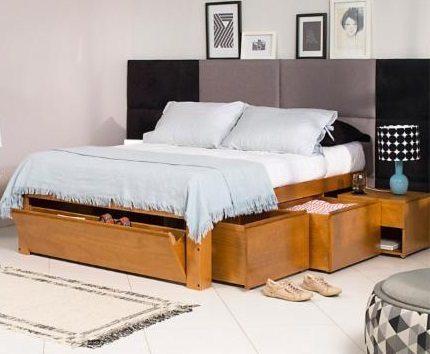 Cama com gavetas - cama de madeia de lei com gavetas