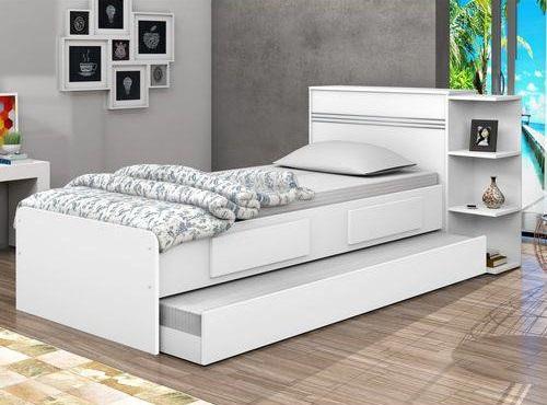 Cama com gavetas - cama de solteiro com gaveta e auxiliar branca