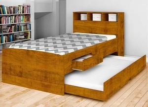 Cama com gavetas - cama de solteiro marrom com gaveta e auxiliar