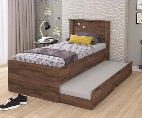 Cama com gavetas - cama de solteiro marrom com gavetas e auxiliar