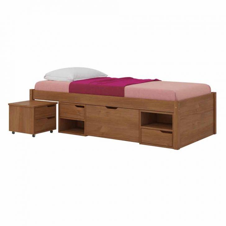 Cama com gavetas - cama de solteiro simples com gavetas e nichos