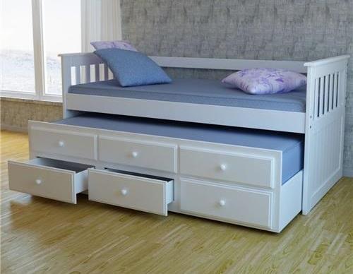 Cama com gavetas - sofá cama com auxiliar e gavetas brancas
