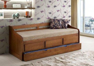 Cama com gavetas - sofá cama com auxiliar marrom e gavetas