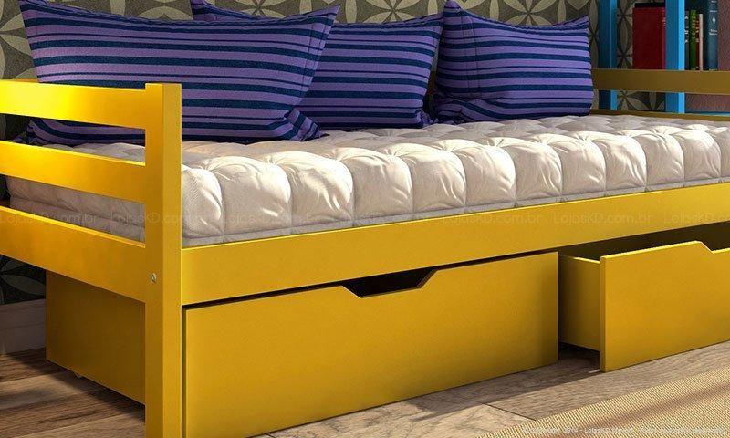 Cama com gavetas - sofá cama com gavetas amarelas