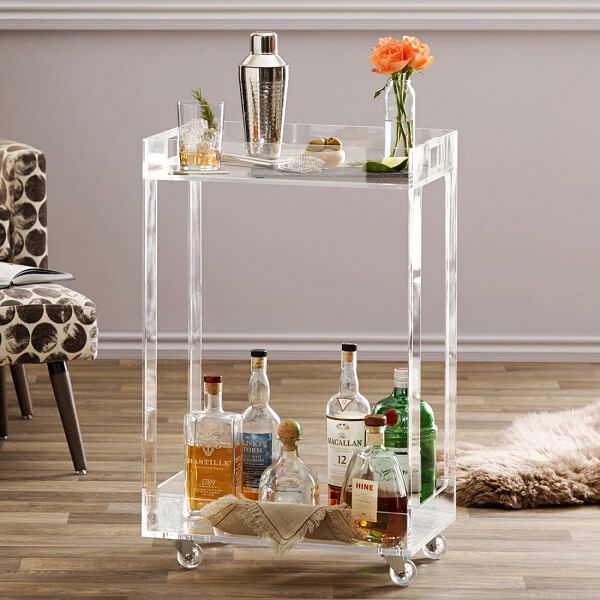 Carrinho bar com design de acrílico