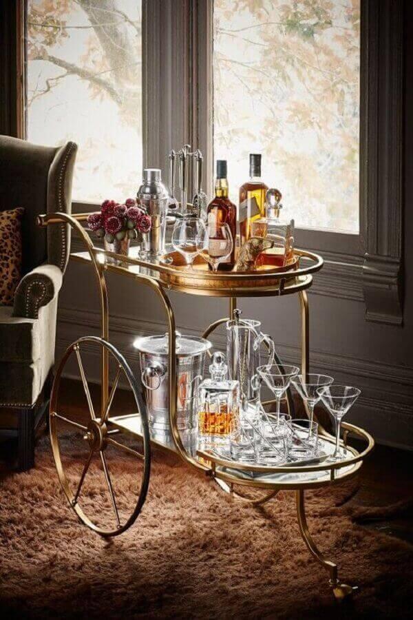 Carrinho bar vintage, estilo e sofisticação para o ambiente