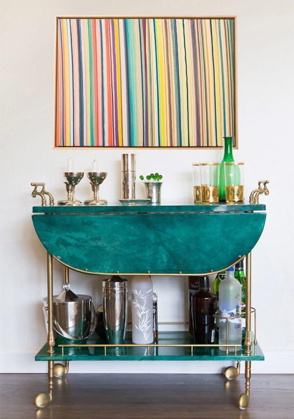 Carrinho bar vintage com mesa dobrável embutida