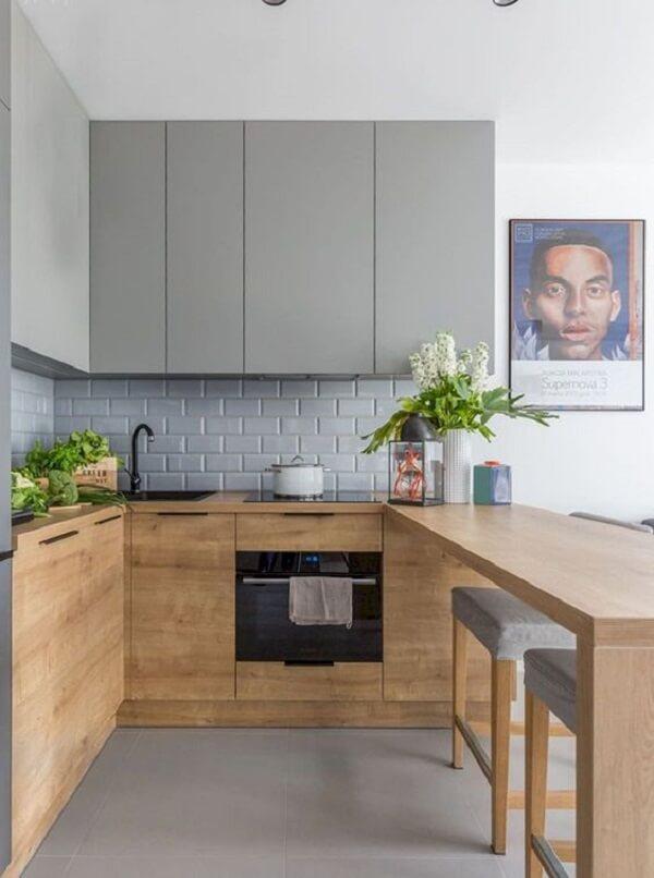 cozinha em l com estilo rústico contemporâneo