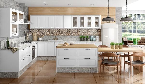 cozinha em l planejada com diversos armários embutidos