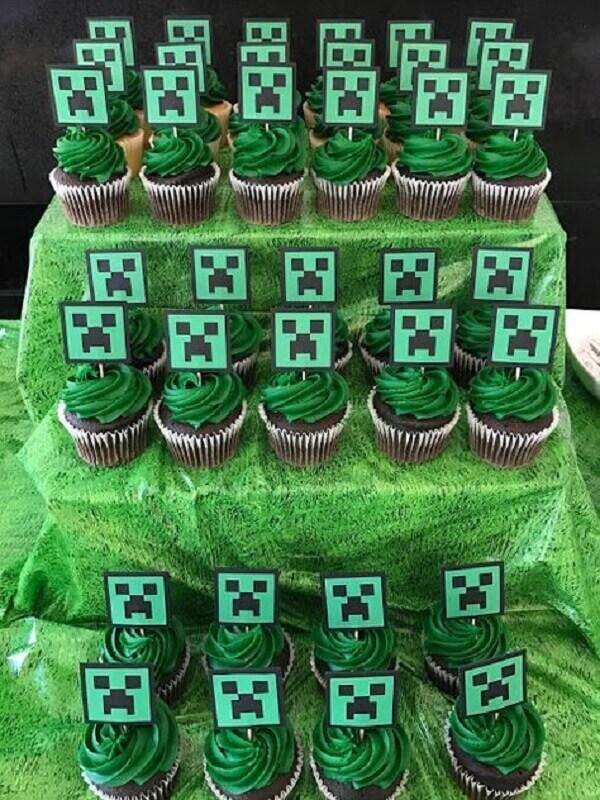 Cupcakes decorados para festa minecraft