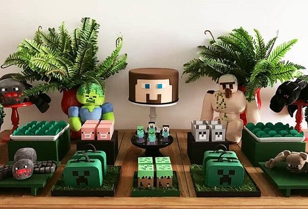 Decoração de festa minecraft simples