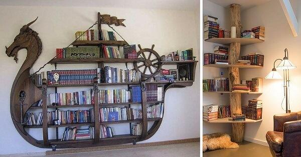 Prateleira para livros com design ousado