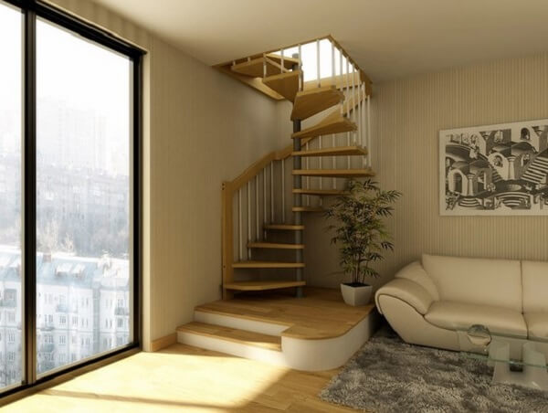 Escada com design em espiral para acesso ao sótão