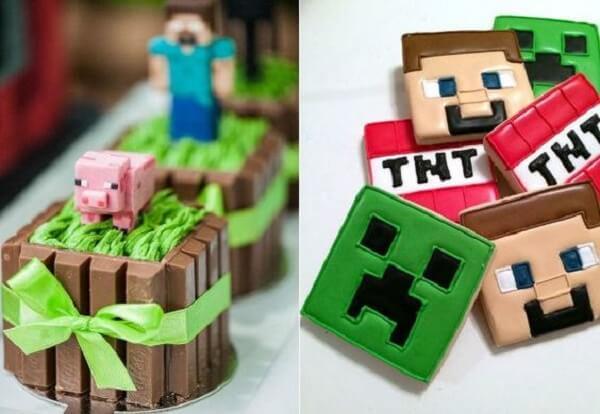 Doces criativos decorados com o tema festa minecraft