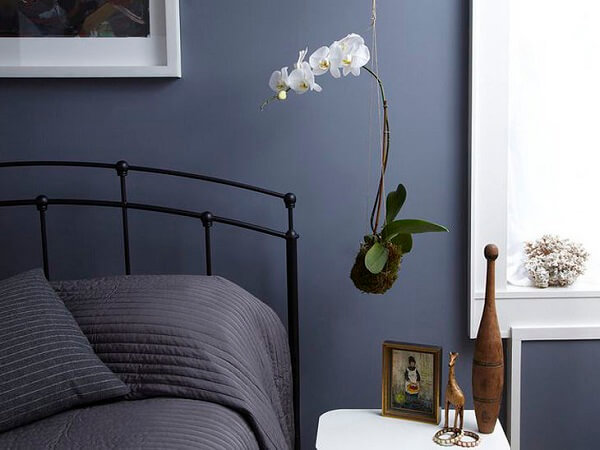 Kokedama posicionada ao lado da cama de casal