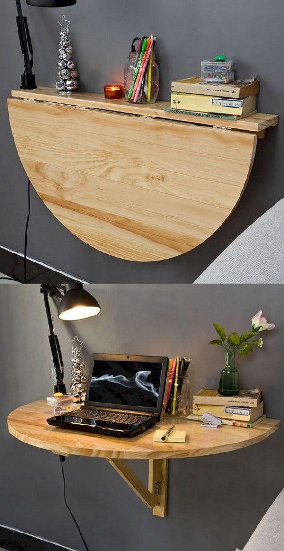 Mesa dobrável de madeira para quarto compacto
