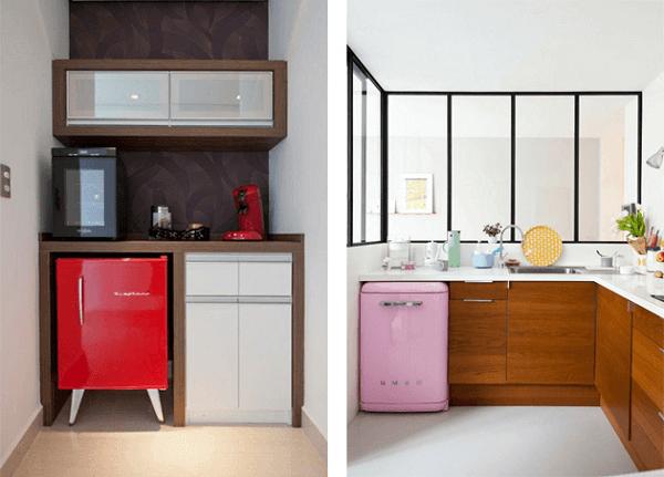 Mini geladeira encanta a decoração do ambiente