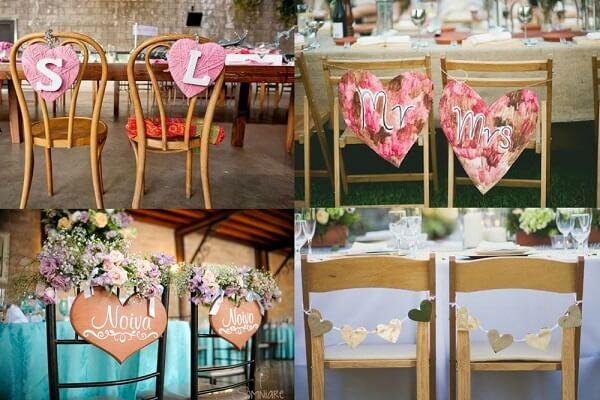 Modelos variados de plaquinhas de casamento para cadeira dos noivos