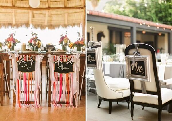 Plaquinhas criativas para a cadeira dos noivo