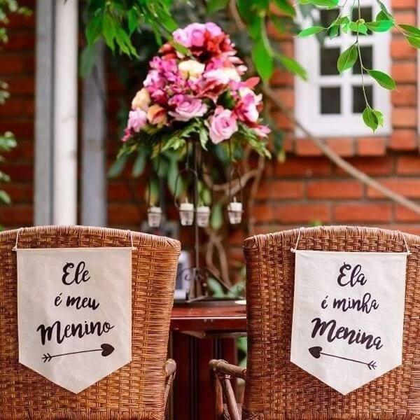 Plaquinhas de casamento feita em tecido