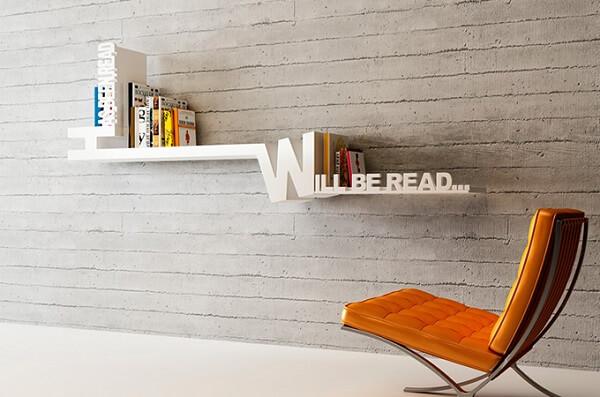 Prateleira para livro com design criativo