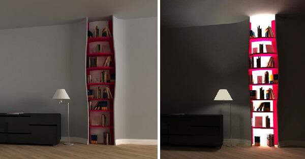 Prateleira para livros com design criativo embutido na parede