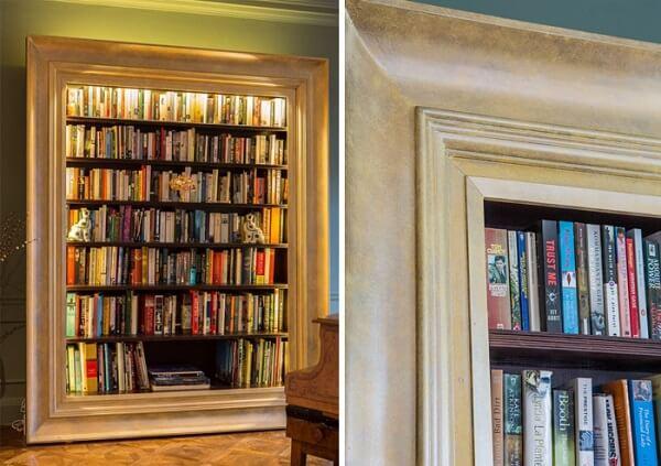 Prateleira para livros com design de porta retrato