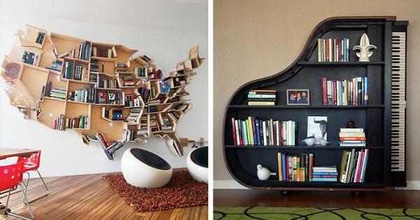 Prateleira para livros em formato criativo de mapa mundi e piano