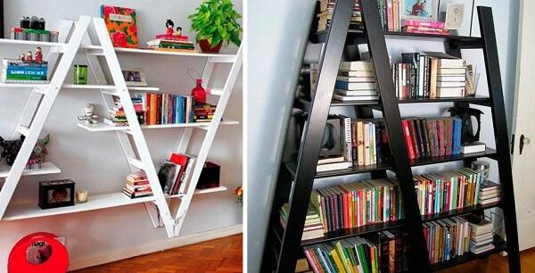 Prateleiras criativas feitas com estrutura de escada