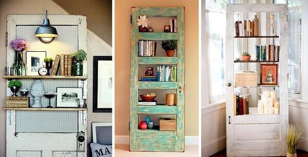 Prateleiras de livro feitas com estrutura de porta de madeira