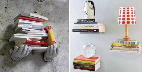 Prateleiras de livros com design criativo