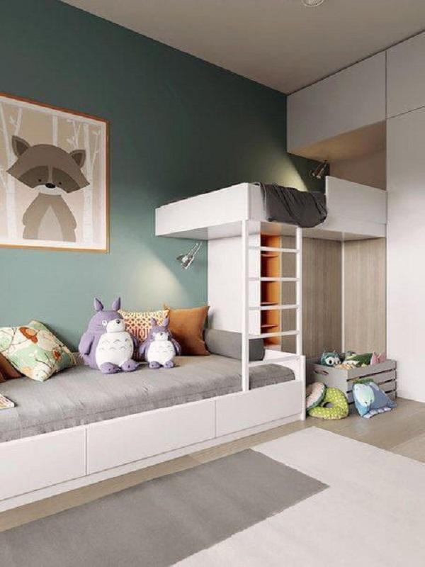 Quarto compartilhado com piso vinílico e cama com gavetas. Fonte: Revista Viva Decora 2