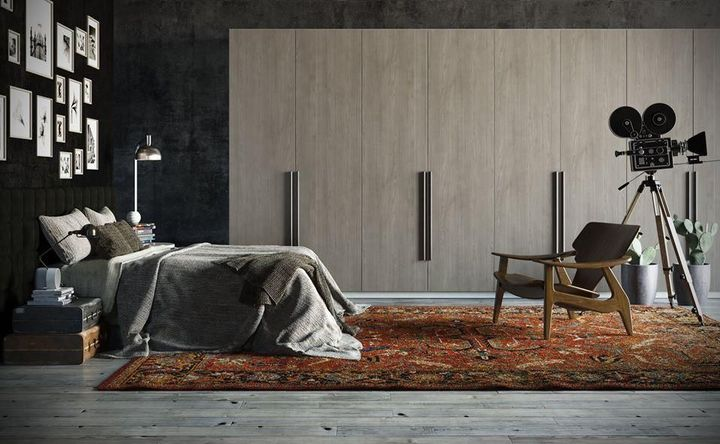 Quarto de casal moderno - quarto com tapete marrom e câmera de cinema