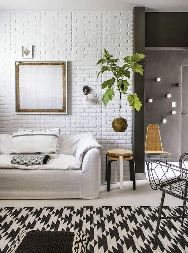 Sala de estar com decoração de kokedama