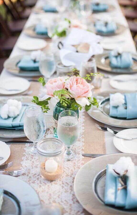 aniversário de casamento bodas decorado em tons de azul Foto Love Our Wedding