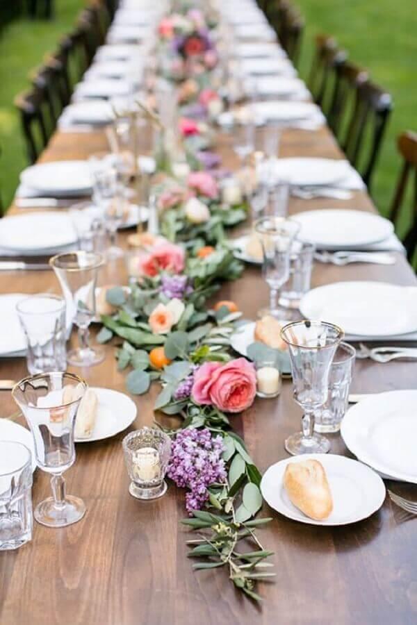 arranjo de mesa delicado para aniversário de casamento bodas Foto Pinterest