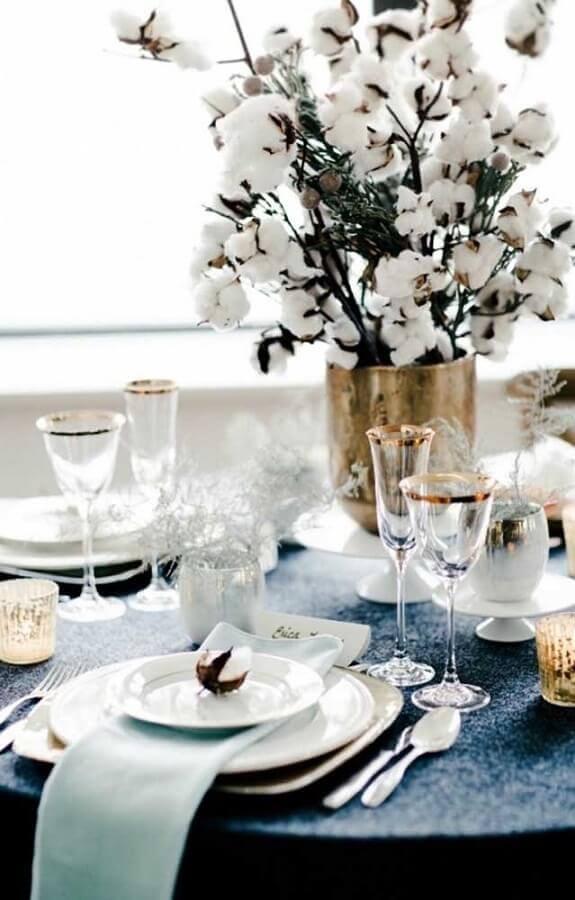 arranjo de mesa para bodas de algodão Foto Fanny Soulier