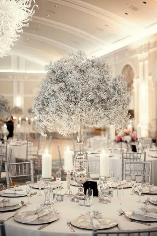 arranjo de mesa para decoração de bodas de prata Foto Flowers Healthy