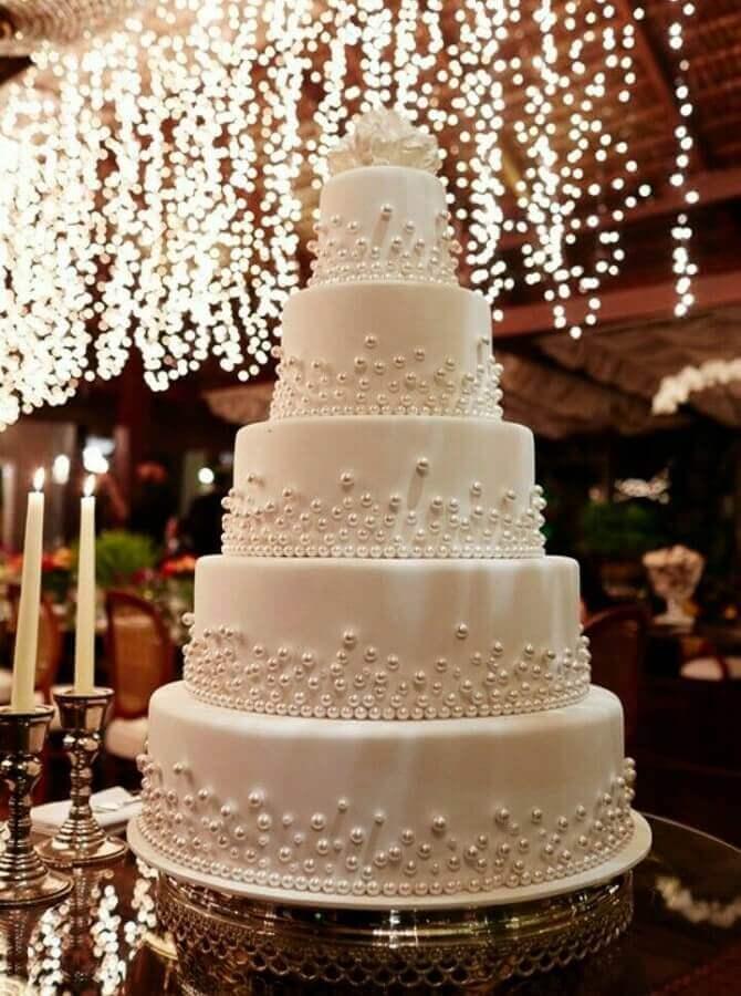 bolo 5 andares para bodas de pérola Foto Pinterest