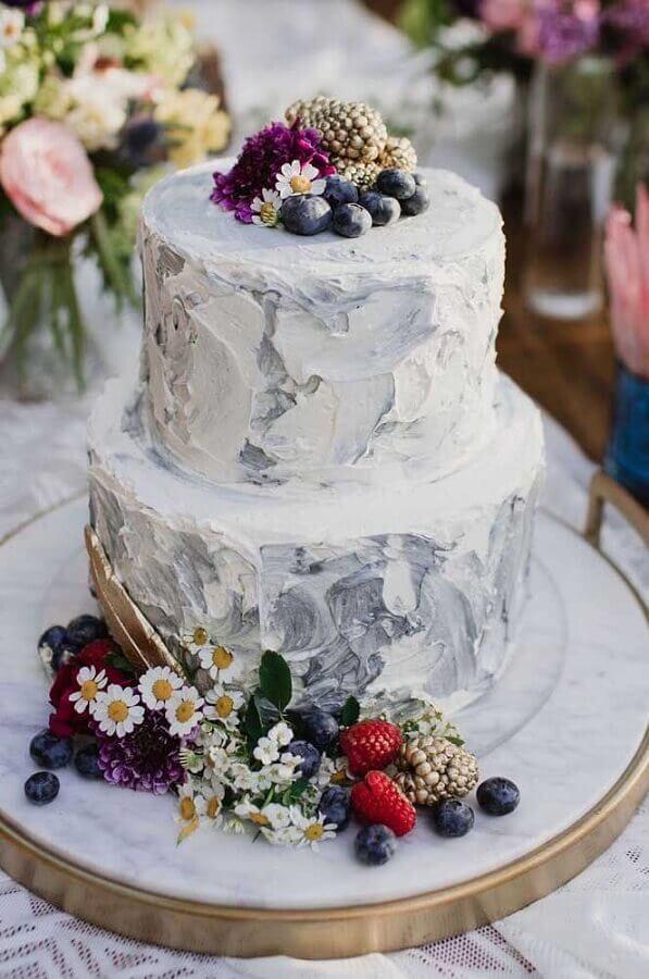bolo decorado com flores e frutas para aniversário de casamento bodas Foto 100 Layer Cake