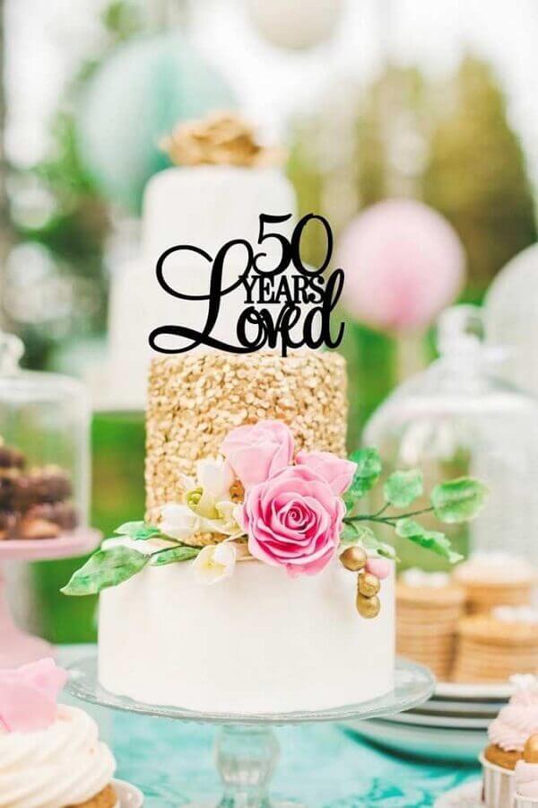 bolo decorado para bodas de ouro Foto Pinterest